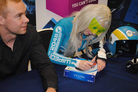 WipEout 2048 on PS Vita, represented by developer Karl Jones and Cosplayer Ami Ledger